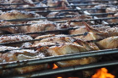 Grilling Chicken. At barbeque. Hot food on the grill.  Taken July 16, 2014 Stock Photos
