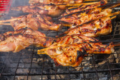 Grilling chicken on charcoal grill Stock Images