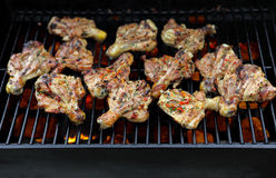 Grilling Chicken Legs Royalty Free Stock Photos