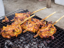 Grilling chicken plugged with bamboo Royalty Free Stock Photo