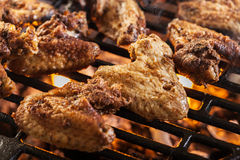 Grilling chicken wings on barbecue grill Stock Photos