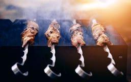 Grilling a delicious shashlik Royalty Free Stock Photo