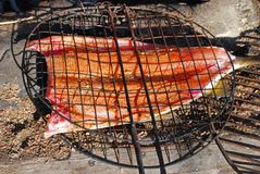 Grilling a fish Royalty Free Stock Photos