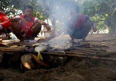 Grilling fish Stock Photos