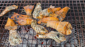 Grilling Flathead lobster Stock Photo