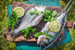 Grilling fresh fish with herbs and lemon Stock Image