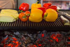 Grilling Fresh Vegetables Over Red Hot Coals Royalty Free Stock Images