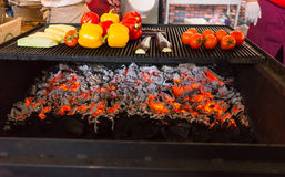 Grilling Fresh Vegetables Over Red Hot Coals Royalty Free Stock Photos
