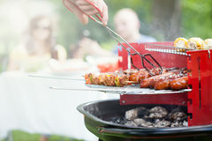 Grilling in a garden Royalty Free Stock Images