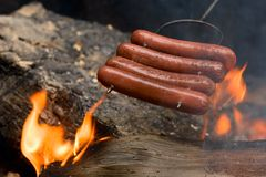 Grilling hot dogs Royalty Free Stock Images