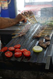 Grilling kabob skewers, onions and peppers Royalty Free Stock Photography