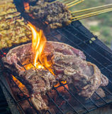 Grilling Lamb Meat Stock Photography
