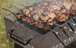 Grilling marinated meat on a brazier Royalty Free Stock Image