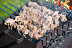 Grilling marinated shashlik on a grill Royalty Free Stock Photography