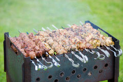 Grilling marinated shashlik on a grill. Royalty Free Stock Photos
