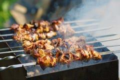 Grilling marinated shashlik Royalty Free Stock Images