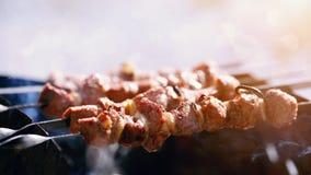 Grilling marinated shashlik Royalty Free Stock Photography