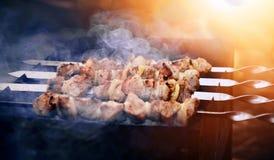 Grilling marinated shashlik Stock Image