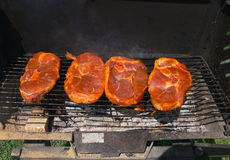 Grilling meat Royalty Free Stock Image