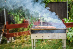 Grilling Meat on barbecue grill with coal. Royalty Free Stock Photos
