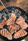 Grilling meat on charcoal grill Royalty Free Stock Photo