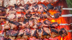 Grilling meat outdoors. Pork meat shashlik on fire stock images