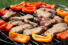 Grilling meat and vegetables Royalty Free Stock Photo