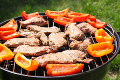 Grilling meat and vegetables Stock Photos