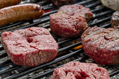 Grilling Meats at Outdoor Picnic Stock Image