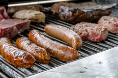 Grilling Meats at Outdoor Picnic Stock Photography