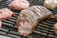 Grilling Meats at Outdoor Picnic Royalty Free Stock Photography