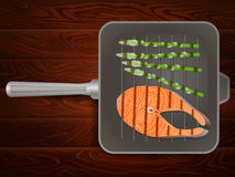 Grilling pan salmon steak wooden texture. Salmon steaks with vegetables on grilling pan on wooden table. Vector image can be used for restaurant and cafe menu Stock Photos