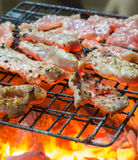 Grilling pork. On hot stove Stock Image