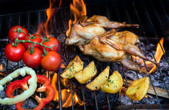 Grilling poultry quails and fresh juicy vegetables in a restaurant Royalty Free Stock Photography