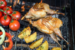 Grilling poultry quails and fresh juicy vegetables in a restaurant Stock Photo