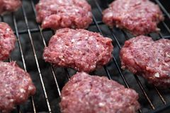 Grilling Raw Meatballs.Outdoor Picnic.Meatballs Closeup. Homemade Hamburgers.Grill Meatballs. Raw Beef Meatballs. Outdoor Picnic Royalty Free Stock Photo