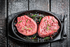 Grilling red meat with herbs Stock Image