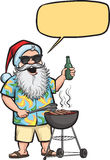 Grilling  Santa with barbeque and beer Stock Photos