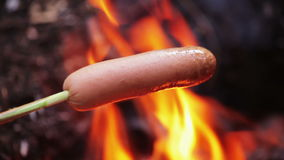 Grilling Sausage on fire stock video