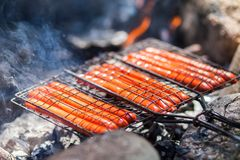 BBQ with fiery sausages on the grill Picnic in forest. royalty free stock images