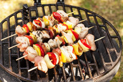 Grilling shashlik. Royalty Free Stock Photos