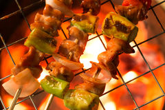 Grilling shashlik on barbecue grill Royalty Free Stock Image