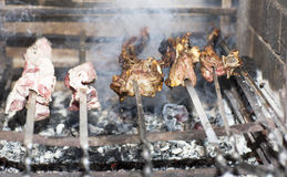 Grilling shashlik on barbecue grill. Royalty Free Stock Image