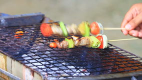 Grilling shashlik on barbecue grill stock footage