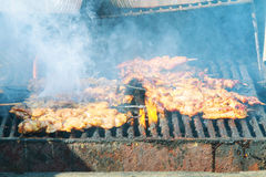Grilling shashlik on barbecue grill. Selective focus Stock Photography