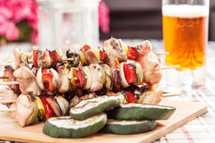 Grilling shashlik. Royalty Free Stock Photo