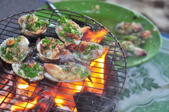 Grilling shellfish and seafood on hot fire Stock Photography