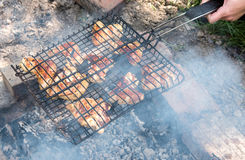 Grilling spiced chicken in grid Stock Image
