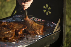 Grilling Steak Royalty Free Stock Images