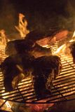 Grilling steak on open flames royalty free stock photography